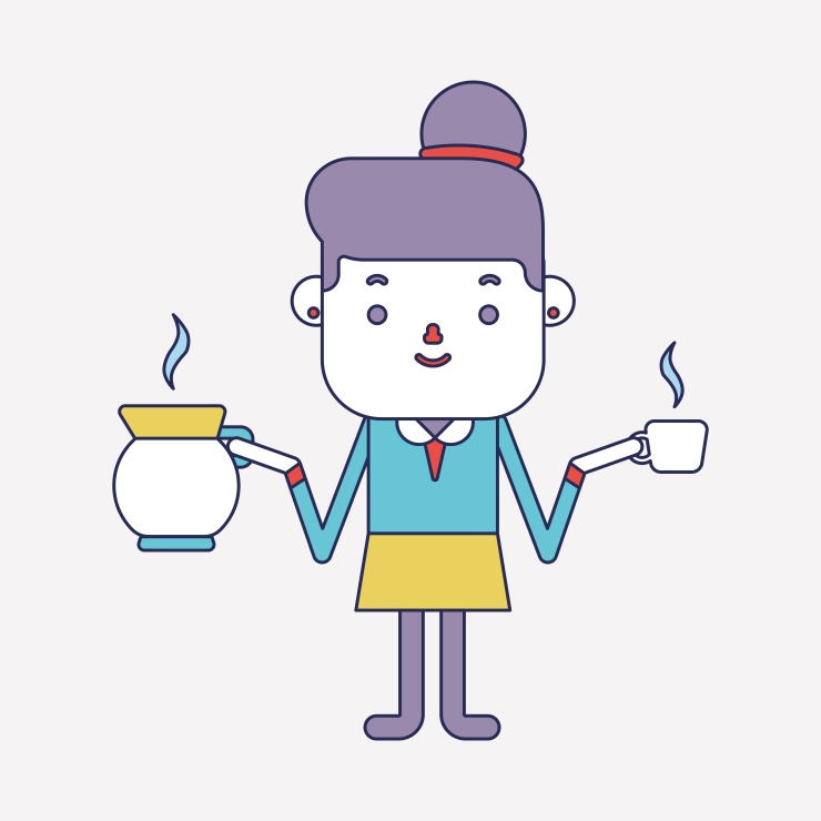 Character illustration design. Businesswoman drinking coffee cartoon